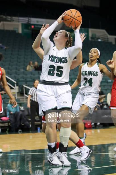 Cleveland State Vikings forward Olivia Voskuhl goes up to shoot during the third quarter of the women's college basketball game between the Ball...