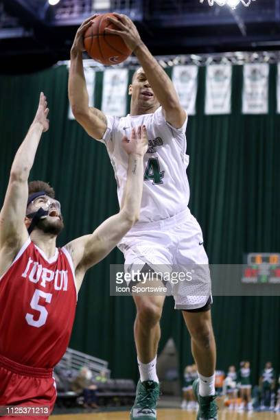 Cleveland State Vikings forward Seth Millner grabs a rebound over IUPUI Jaguars guard Camron Justice during the second half of the college basketball...