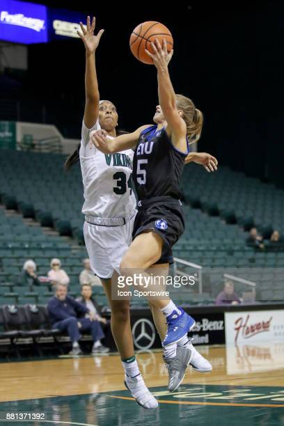 Cleveland State Vikings forward Shadae Bosley defends the shot of Eastern Illinois Panthers guard Grace Lennox during the first quarter of the...