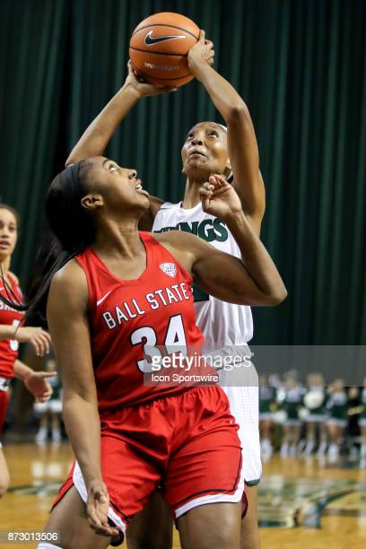 Cleveland State Vikings forward Shadae Bosley shoots against Ball State Cardinals forward Aliyah Walker during the third quarter of the women's...