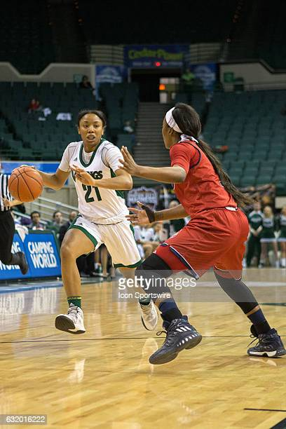 Cleveland State Vikings G Jade Ely is defended by UIC Flames G Brittany Byrd during the second quarter of the NCAA Women's Basketball game between...