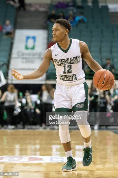 Cleveland State Vikings G Kasheem Thomas with the basketball during the first half of the men's college basketball game between the Youngstown State...