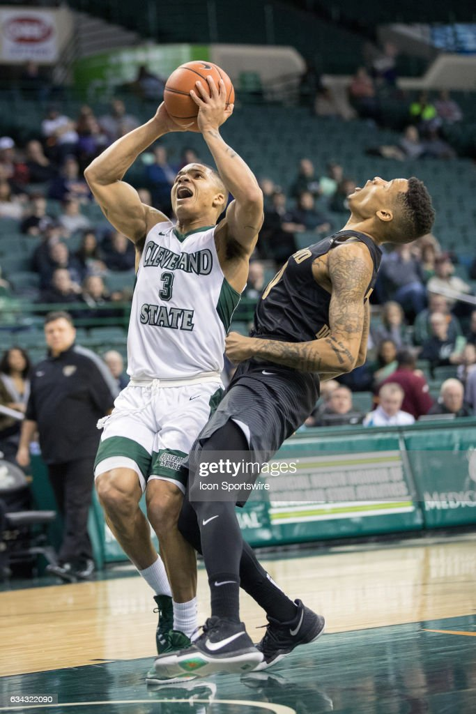Cleveland State Vikings G Rob Edwards (3) is called for an offensive foul as he drives to the basket against Oakland Grizzlies G Sherron Dorsey-Walker (30) during the first half of the men's college basketball game between the Oakland Grizzlies and Cleveland State Vikings on February 4, 2017, at the Wolstein Center in Cleveland, OH. Oakland defeated Cleveland State 53-51.