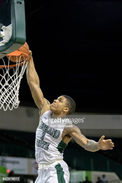 Cleveland State Vikings G Rob Edwards soars for a slam dunk during the first half of the men's college basketball game between the Wright State...