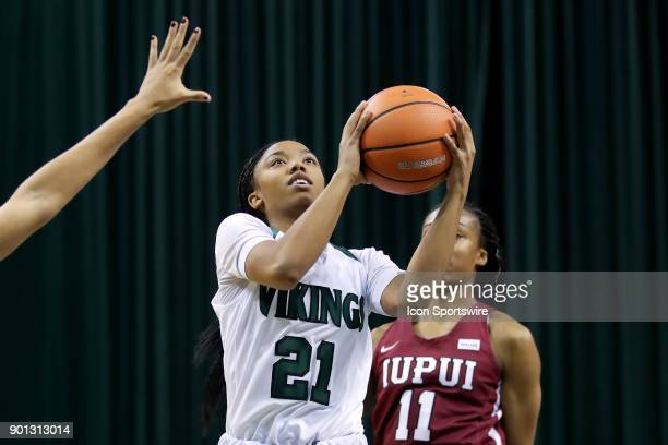 Cleveland State Vikings guard Jade Ely drives to the basket during the fourth quarter of the women's college basketball game between the IUPUI...