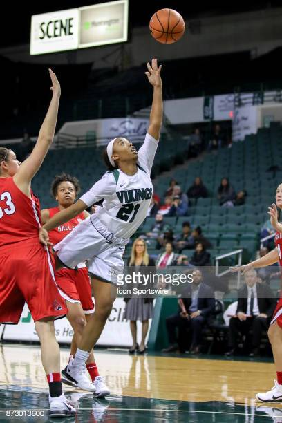 Cleveland State Vikings guard Jade Ely scores during the fourth quarter of the women's college basketball game between the Ball State Cardinals and...