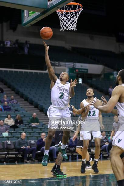 Cleveland State Vikings guard Kasheem Thomas shoots during the second half of the college basketball game between the Wright State Raiders and...