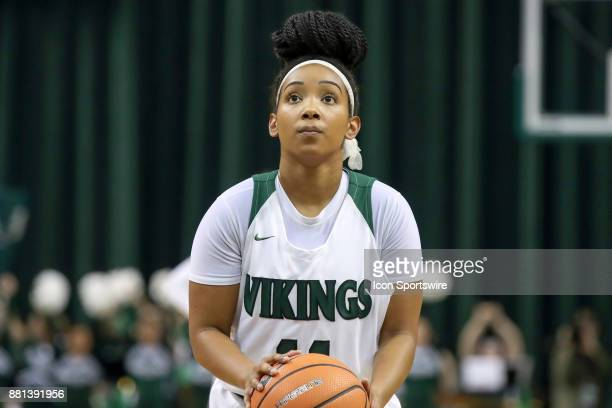 Cleveland State Vikings guard Khayla Livingston at the foul line during the fourth quarter of the women's college basketball game between the Eastern...