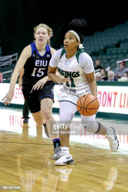 Cleveland State Vikings guard Khayla Livingston drives to the basket past Eastern Illinois Panthers guard Taylor Steele during the fourth quarter of...