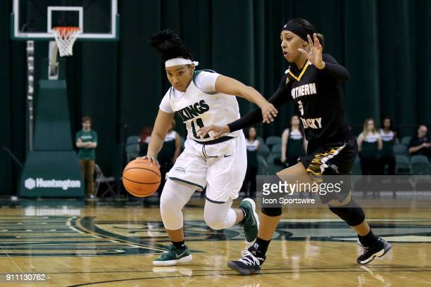 Cleveland State Vikings guard Khayla Livingston is defended by Northern Kentucky Norse guard Samari Mowbray during he fourth quarter of the women's...