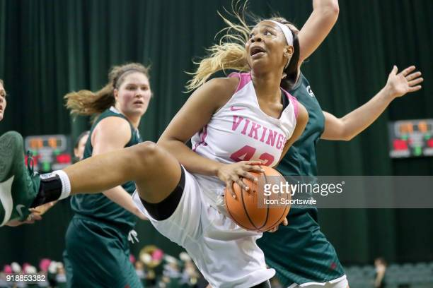 Cleveland State Vikings guard Mariah Miller grabs a rebound during the third quarter of the women's college basketball game between the Green Bay...