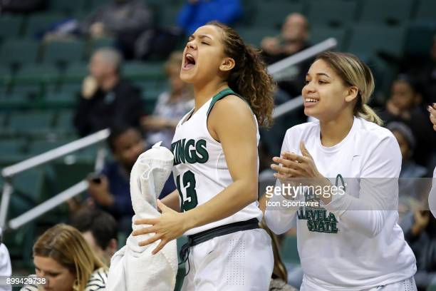 Cleveland State Vikings guard Mariana Bautista and Cleveland State Vikings guard Mariah White celebrate after a Vikings basket during the fourth...