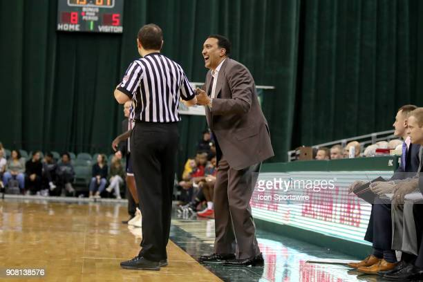 Cleveland State Vikings head coach Dennis Felton argues a call with the official during the first half of the men's college basketball game between...