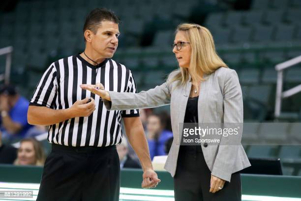 Cleveland State Vikings head coach Kate Peterson Abiad argues a call with referee Frank Steratore during the fourth quarter of the women's college...