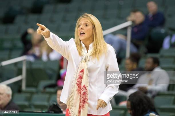 Cleveland State Vikings head coach Kate Peterson Abiad on the sideline during the second quarter of the women's college basketball game between the...
