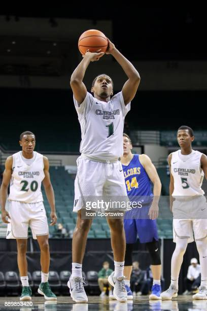 Cleveland State Vikings Kasheem Thomas shoots a foul shot during the first half of the men's college basketball game between the Notre Dame College...