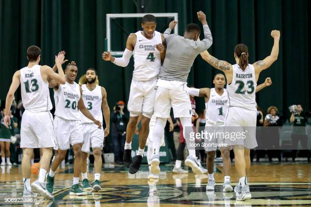 Cleveland State Vikings Kenny Carpenter and Cleveland State Vikings Shawn Christian Jr chest bump as the Vikings celebrate following the men's...