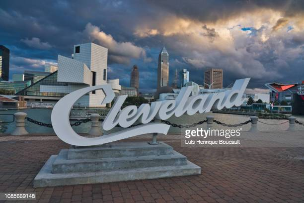 cleveland & sunset - cleveland ohio stock photos and pictures