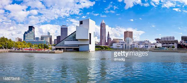 cleveland waterfront panorama with stadium, museums and cleveland skyline - cleveland ohio stock photos and pictures