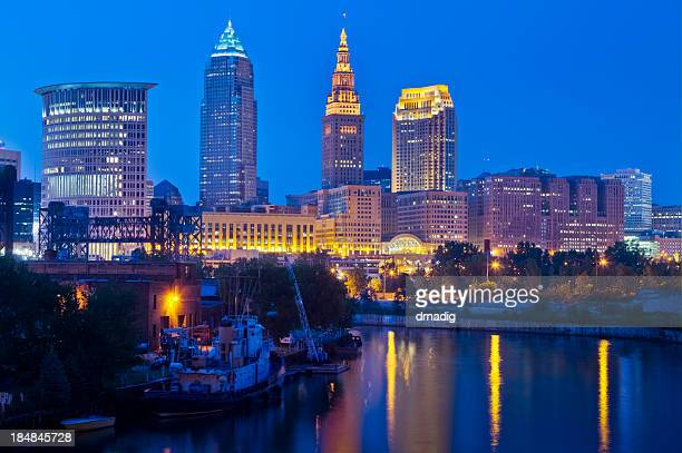 Cleveland with Reflections on the Cuyahoga River at Night
