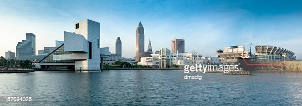 cleveland's north coast waterfront with stadium and museums panorama - cleveland ohio stock photos and pictures