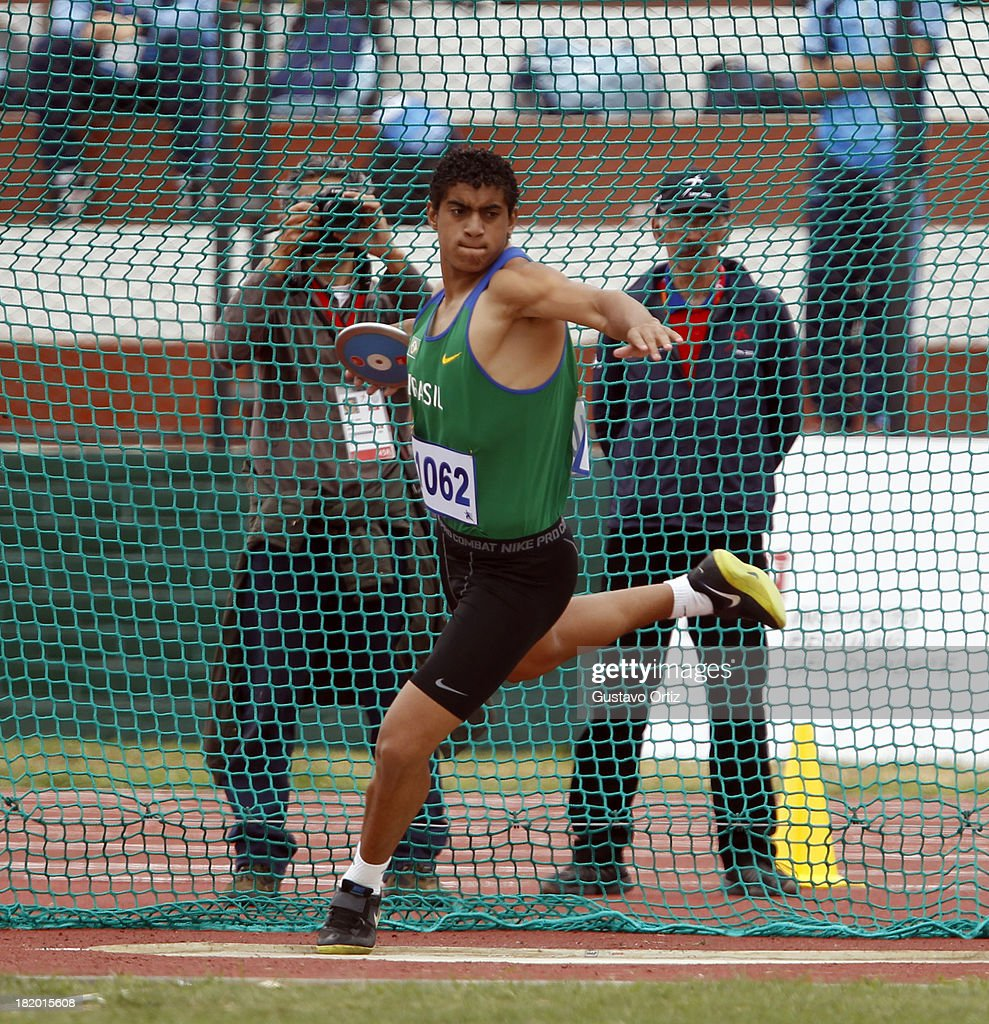 Cleverson Pereira of Brazil competes in Men's Discus Throw as part of the I ODESUR South American Youth Games at Estadio Miguel Grau on September 27, 2013 in Lima, Peru.