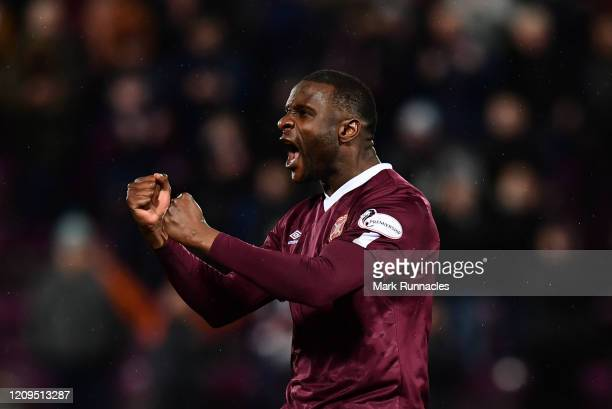 Clevid Dikamona of Hearts celebrates at the final whistle during the Scottish Cup Quarter Final match between Hearts and Rangers at Tynecastle Park...