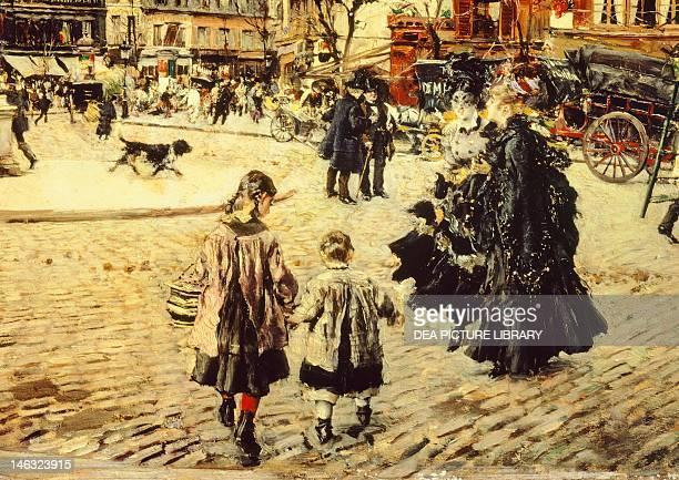 Clichy Square Paris by Giovanni Boldini oil on canvas 60x98 cm Detail