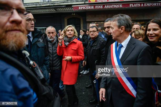 Clichy's mayor Remi Muzeau and President of the Regional Council of the IledeFrance region Valerie Pecresse lead a demonstration during a protest...