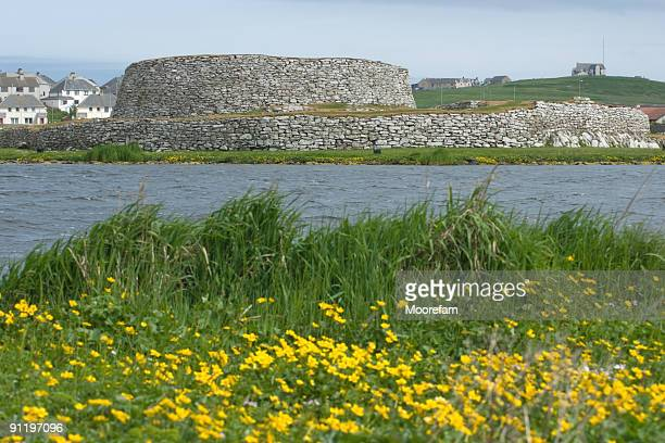 clickimin broch, lerwick, shetland - brooch stock pictures, royalty-free photos & images