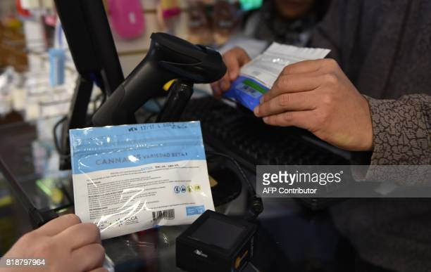 A client buys packed marijuana at a pharmacy in Montevideo on July 19 2017 Pharmacies in Uruguay start selling marijuana from Wednesday under the...
