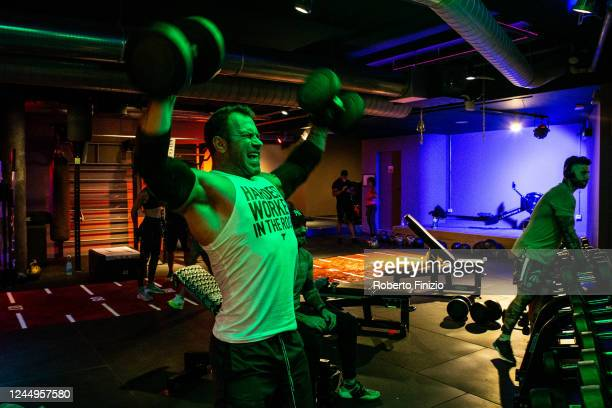 A client during a weight training session at the Audace Palestre Milano gym which reopened this week after almost three months of lockdown on June 04...