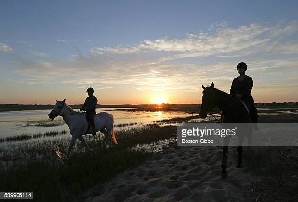 Client Edward Kislauskis of Kingston Mass rides Brant Point with trainer Denise Moraski owner and trainer of Hidden Hollow Farm in Pembroke Mass...