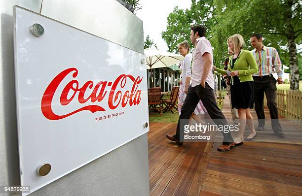 Clients enter the Coca Cola sponsored suite in the Sportsworld hospitality suites at the Wimbledon tennis championships in southwest London UK on...