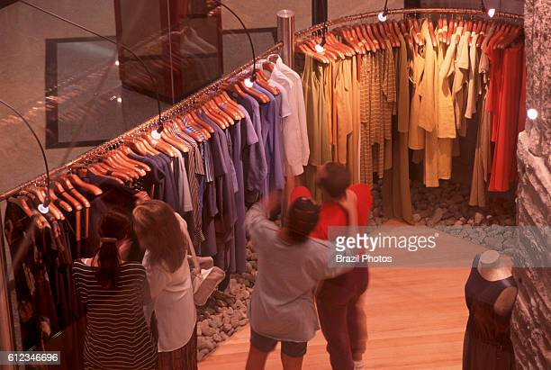Clients in upper mediumclass clothing store at Barra Shopping Center Rio de Janeiro Brazil Americanized lifestyle at Barra da Tijuca district in the...