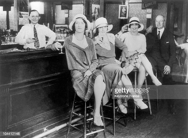 Clients pictured drinking in an illegal bar of NewYork in 1932 These illegal bars which had a lot of success during the American Prohibition were...