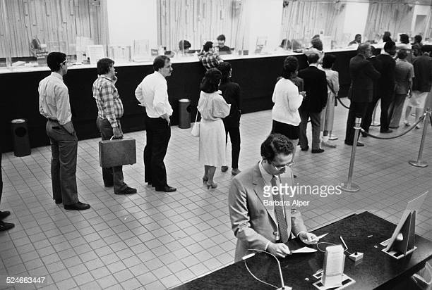 Clients waiting in line at the Chemical Bank in New York City USA 17th May 1985