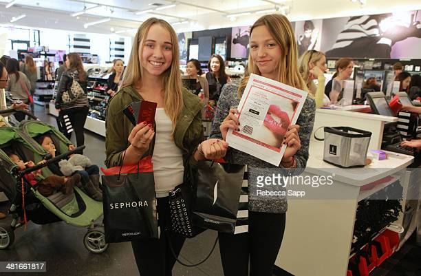 Clients with VIB Rouge membership card and event email at the Sephora VIB Rouge Spring Social at Sephora Santa Monica on March 30 2014 in Santa...