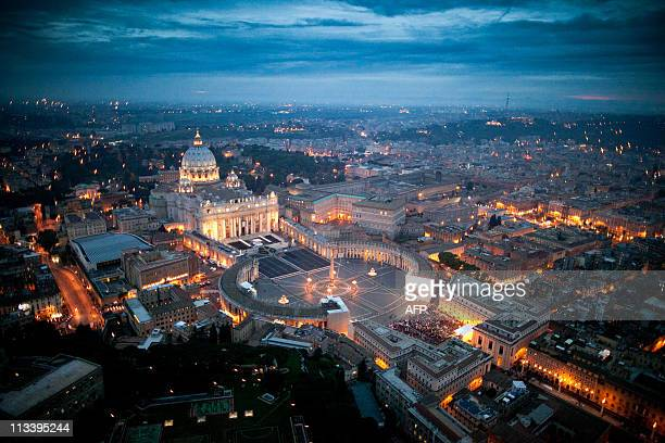 CLIENTSThis handout picture released on April 30, 2011 by the Italian Polizia di Stato shows an aerial view of St Peter's basilica and the Vatican on...