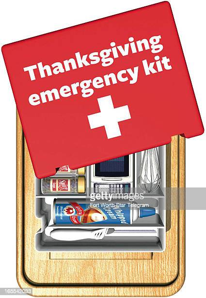 Clif Bosler color illustration of Thanksgiving emergency kit including spices and canned whipped cream