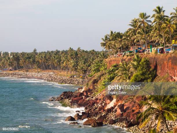 cliff above varkala beach, kerala, india - thiruvananthapuram stock photos and pictures