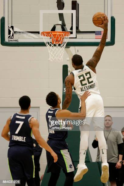 Cliff Alexander of the Wisconsin Herd dunks the ball against the Iowa Wolves during the NBA GLeague on December 1 2017 at the Menominee Nation Arena...