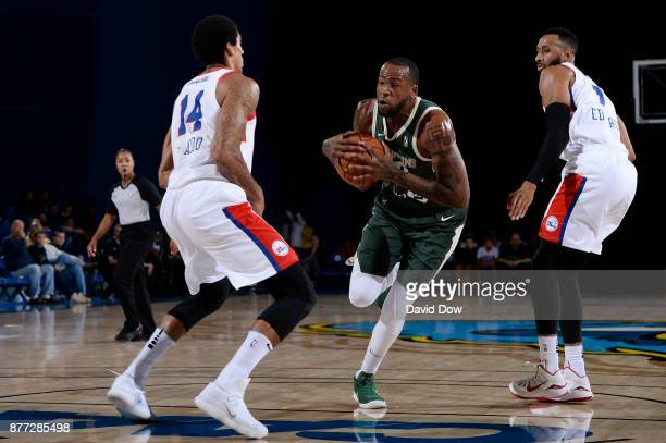 Cliff Alexander of the Wisconsin Herd handles the ball against the Delaware 87ers during a GLeague at the Bob Carpenter Center in Newark Delaware on...