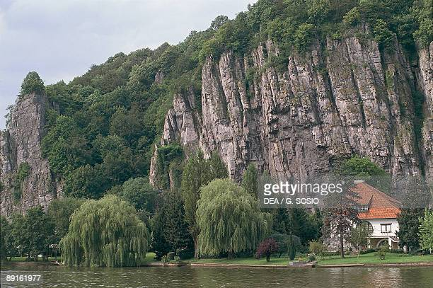 Cliff at the waterfront Ardennes Belgium