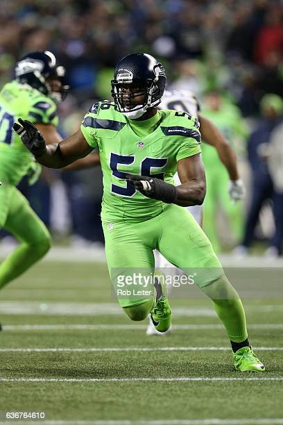 Cliff Avril of the Seattle Seahawks in action during the game against the Los Angeles Rams at CenturyLink Field on December 15 2016 in Seattle...