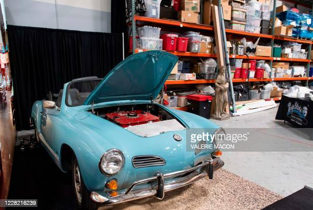 """Cliff Booth's blue Volkswagen Karmann Ghia from the film """"Once Upon a Time in Hollywood"""" is seen at Prop Store, August 26 in Valencia, California. -..."""