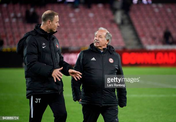 Cliff Crown board member of FC Midtjylland and Jess Thorup head coach of FC Midtjylland celebrate after the Danish Alka Superliga match between FC...