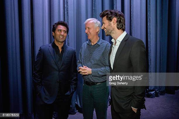 Cliff Curtis James Cameron James Napier Robertson behind the scenes before they come on stage to discuss the film prior to the screening at The...