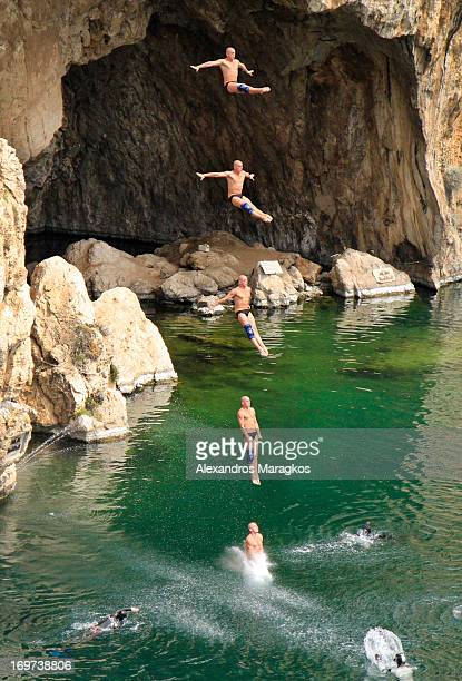 CONTENT] Cliff Diver diving at Lake Vouliagmeni in Athens Greece during the Bull Cliff Diving World Series 2011 on Sunday May 22 2011
