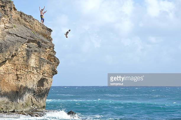 Cliff Diving in Kauai, Hawaii USA